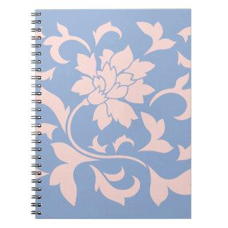 Carnet Fleur orientale - bleu de quartz rose et de