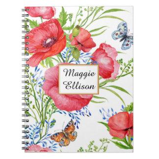 Carnet Floral bleu rouge et papillons sur la coutume