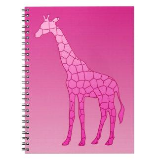 Carnet Girafe géométrique moderne, fuchsia et rose-clair