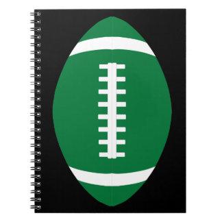 Carnet Joueur de football vert/école en spirale de sports