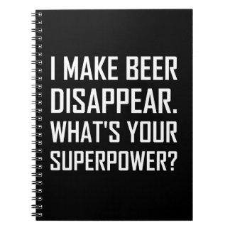 Carnet La bière disparaissent la superpuissance