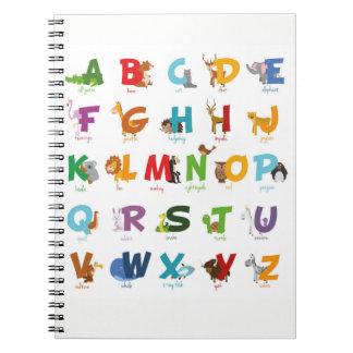 Carnet Lettres animales mignonnes d'alphabet