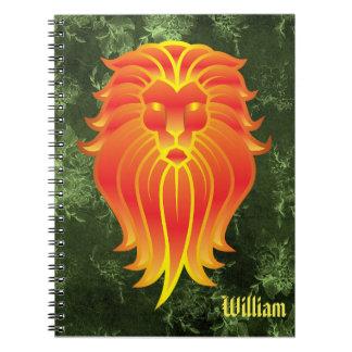 Carnet Lion orange lumineux sur l'arrière - plan vert de