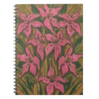 Carnet Lis roses, peinture en pastel, fleurs, art floral