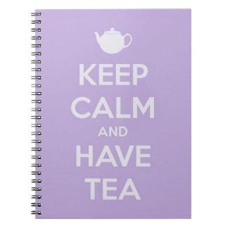 Carnet Maintenez calme et ayez la lavande de thé