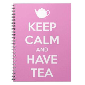 Carnet Maintenez calme et ayez le rose de thé