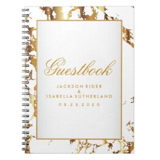 Carnet Marbre d'or et blanc - Guestbook