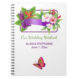Carnet Mariage floral tropical de papillon