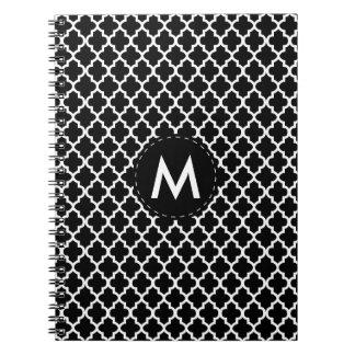 Carnet Monogramme Quatrefoil blanc sur le noir