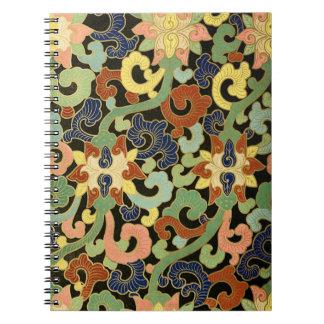 Carnet Motif de fleurs stylisé d'iris