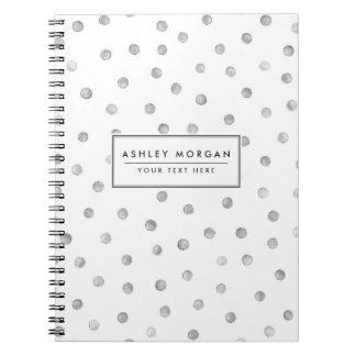 Carnet Motif de points de confettis de blanc gris