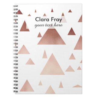 Carnet motif géométrique de triangles d'or rose élégant