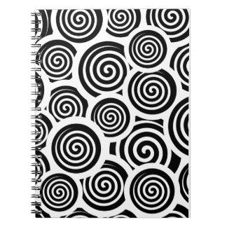 Carnet Motif noir et blanc de vecteur de spirales
