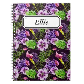 Carnet Motif tropical pourpre noir d'aquarelle de flore