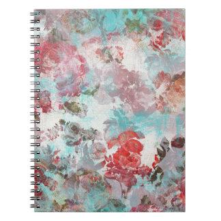 Carnet Motif turquoise floral rose chic romantique
