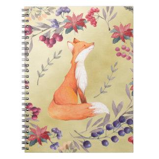 Carnet Or de baies d'hiver de Fox d'aquarelle