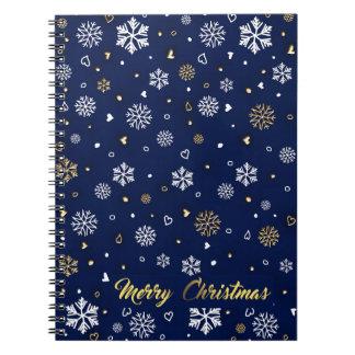 Carnet Or de Joyeux Noël et flocons de neige blancs