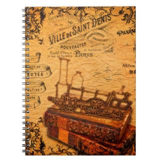 Carnet Papier peint vintage de train de Steampunk