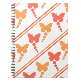 Carnet Papillons roses et oranges, points, copie de