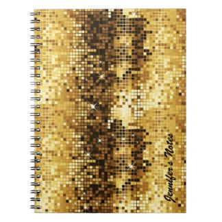 Carnet Parties scintillantes de Discoball de tons d'or