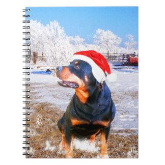 Carnet Peinture de Noël de chien de rottweiler