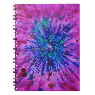 Carnet Peinture pourpre bleue rose d'art abstrait