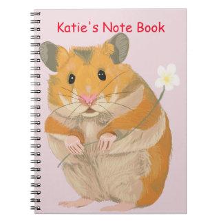 Carnet Petit hamster mignon tenant une fleur