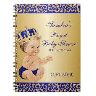 Carnet Petit invité de cadeau d'or de prince bleu royal