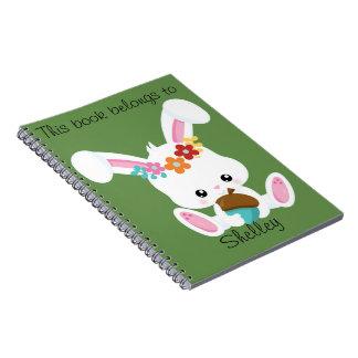 Carnet Petit lapin blanc adorable personnalisé