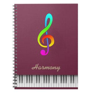 """Carnet Piano de couleur """"de port fauve"""" et de clef triple"""