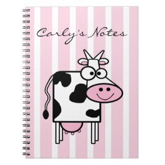 Carnet Poster de animal Girly de sourire de vache