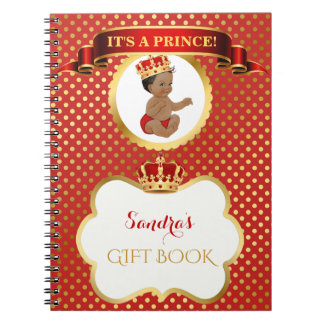 Carnet Prince Royal Red Gold Gift d'Afro-américain
