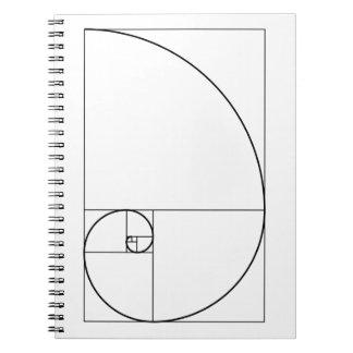 Carnet Rapport d'or en spirale de Fibonacci
