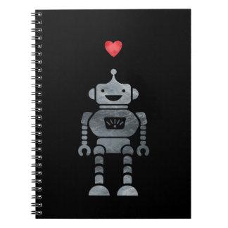 Carnet Robot doux et heureux avec peu de coeur rouge