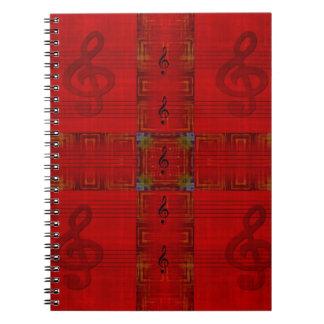 Carnet rouge de photo de note musicale
