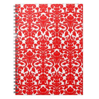 Carnet rouge floral vintage de damassé