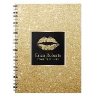 Carnet Scintillement moderne d'or de Faux de lèvres d'or
