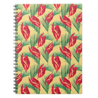 Carnet Série sans couture 4 de motif de feuille tropical