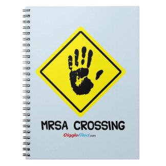 Carnet Signe de croisement de MRSA