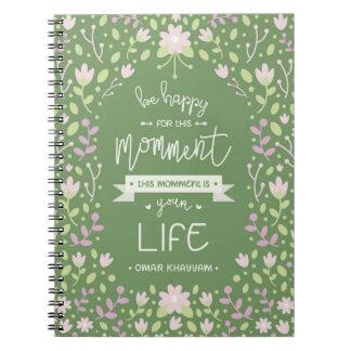 Carnet Soyez heureux pour cette citation de Momment -