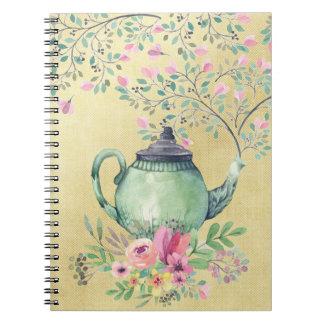 Carnet Théière d'aquarelle et or élégants de fleurs