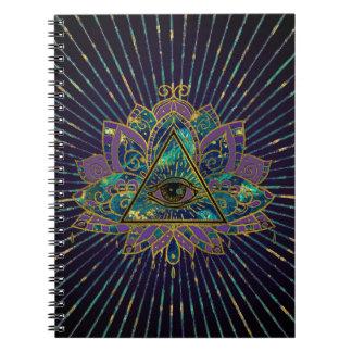 Carnet Tout l'oeil mystique voyant en fleur de Lotus