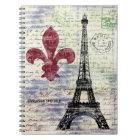 Carnet vintage d'art de Tour Eiffel