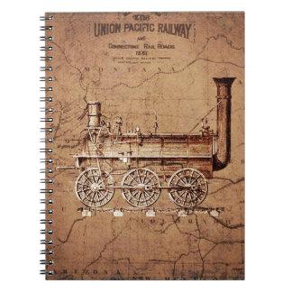 Carnet vintage de train de vapeur