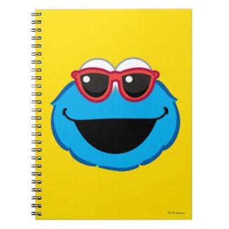 Carnet Visage de sourire de biscuit avec des lunettes de