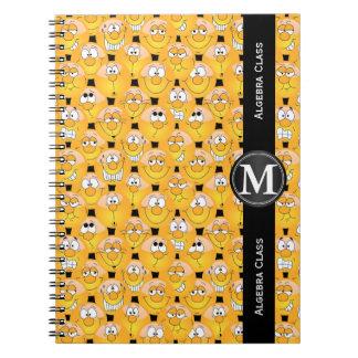 Carnet Visages jaunes drôles de conception d'Emoji