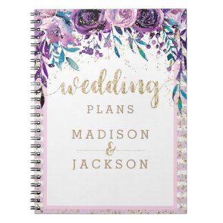 Carnet Wedding planner floral pourpre chic d'or de