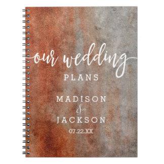 Carnet Wedding planner gris orange d'aquarelle d'automne
