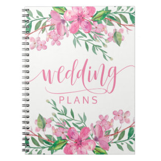 Carnet Wedding planner rose de fleurs d'amour d'aquarelle