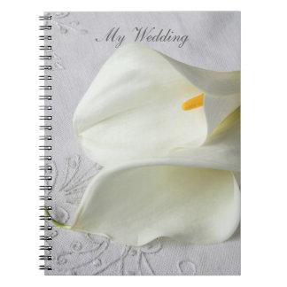 Carnet Zantedeschias blancs sur le mariage de toile